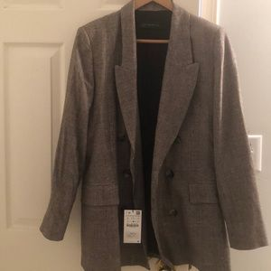 Zara Women Plaid Blazer Large